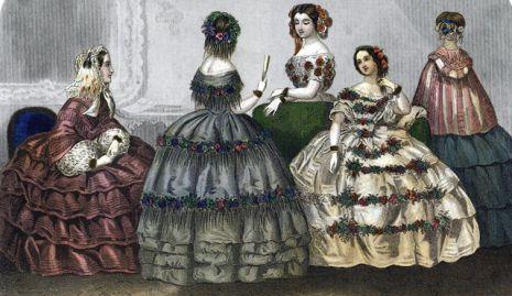 Az 1860-as években a ruhák olyan szélesek voltak (az abroncs miatt) d4e60d5320